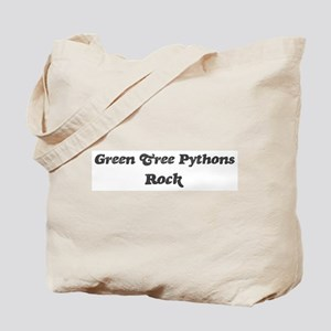 Green Tree Pythonss rock] Tote Bag